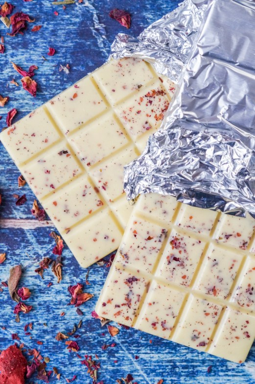 Homemade White Chocolate with Strawberries and Rose Petals #FoodieExtravaganza