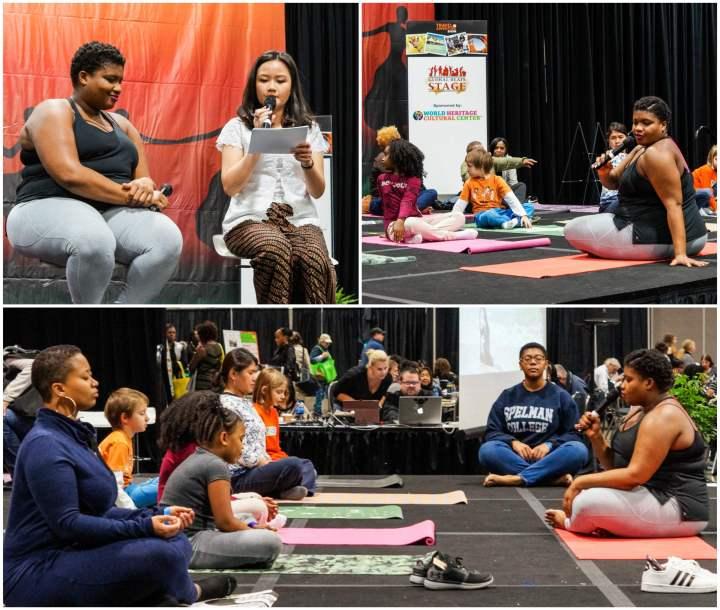 Jessamyn Stanley presenting a yoga class.