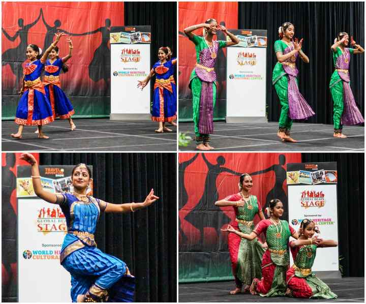 Natananjali School of Dance dancers on the stage in red and blue costumes, green and purple costumes, and red and green costumes.