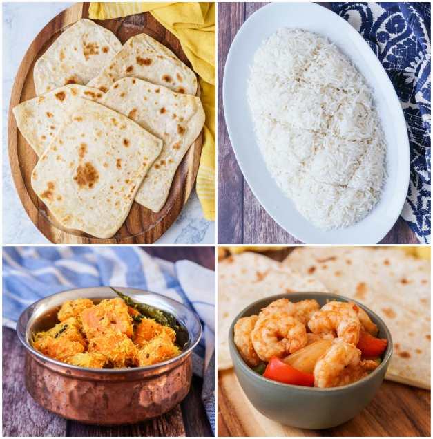 Other dishes from Sri Lanka: The Cookbook- Veechu Rotti (Thin Flatbread), Kiribath (Coconut Milk Rice), Bathala, and Isso Baduma (Devilled Prawns).