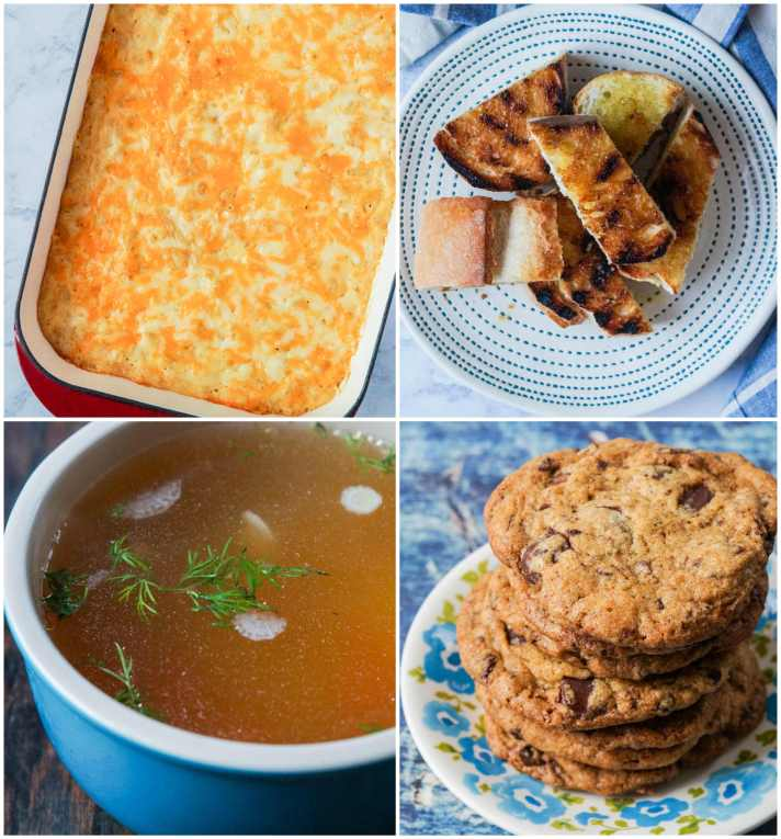 Other dishes from America the Great Cookbook- Mac 'n' Cheese, Fett'unta (Italian-Style Garlic Bread), Chicken Soup, and Chocolate Chunk Cookies.