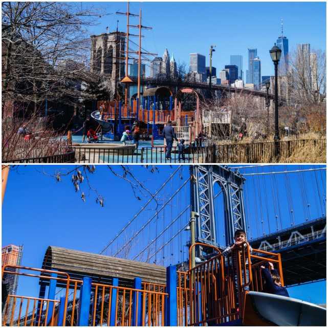 Brooklyn Bridge Park and view of playground.