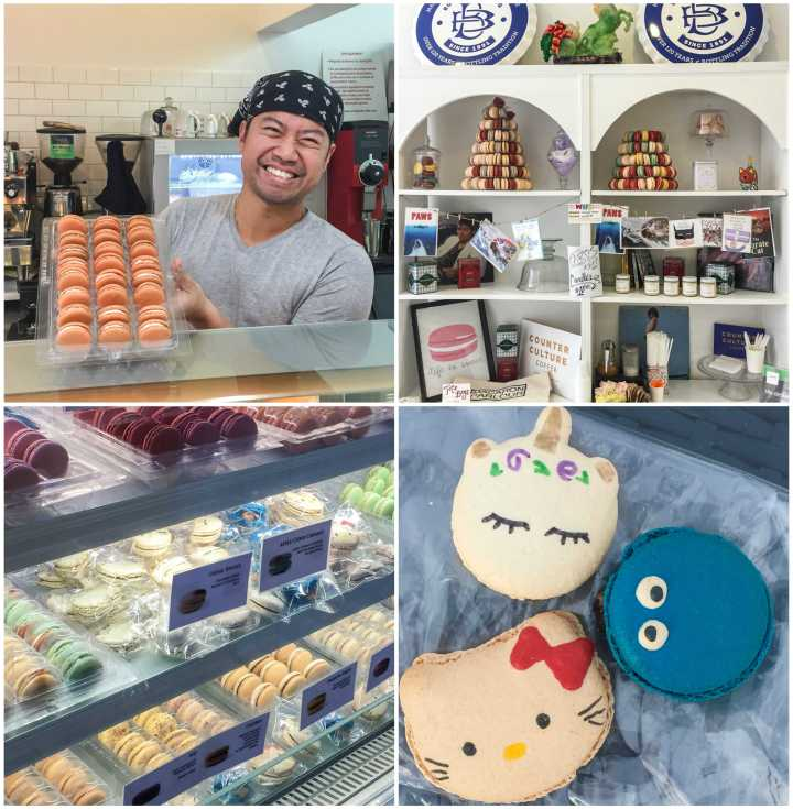 Man holding up macarons, plus macarons in shape of unicorn, Cookie Monster, and Hello Kitty at Macaron Parlour.