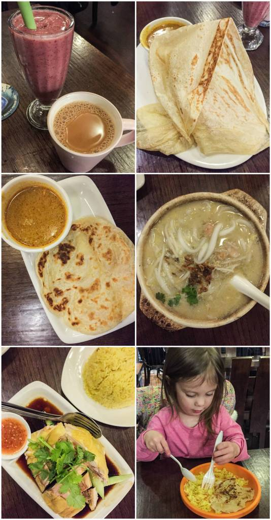 Collage of food at Nyonya- smoothie, tea, bread, soup, and chicken.