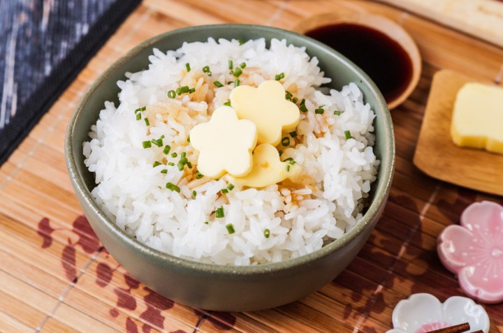 Rice with Butter and Soy Sauce in a small green bowl.