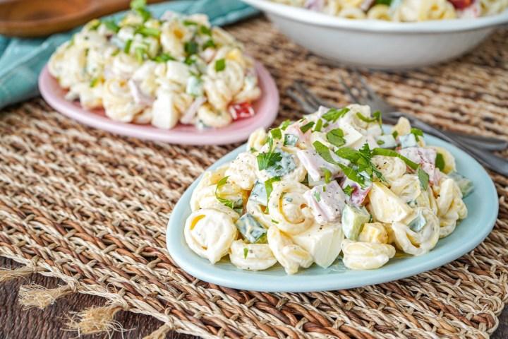 Springtime Pasta Salad on two egg-shaped plates.