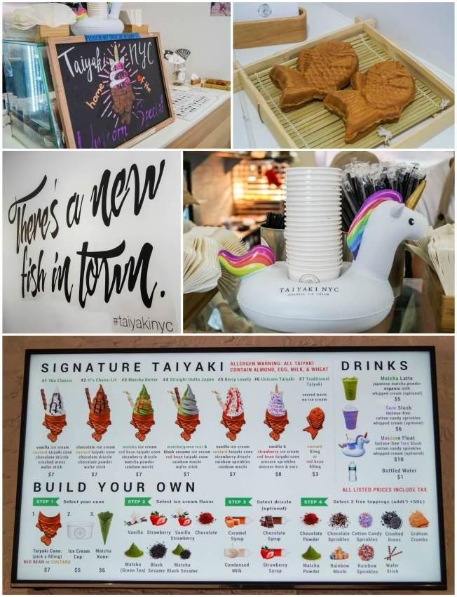 Inside Taiyaki NYC with a photo of the menu and unicorn float.