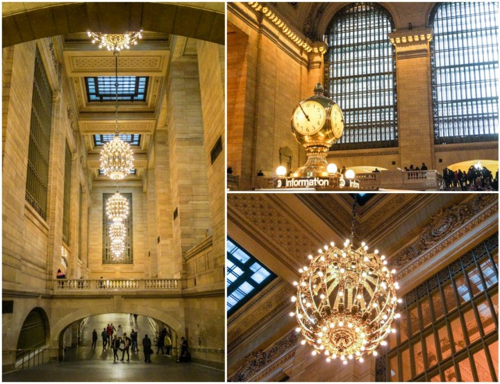 Inside Grand Central Terminal with tall windows and round chandeliers.