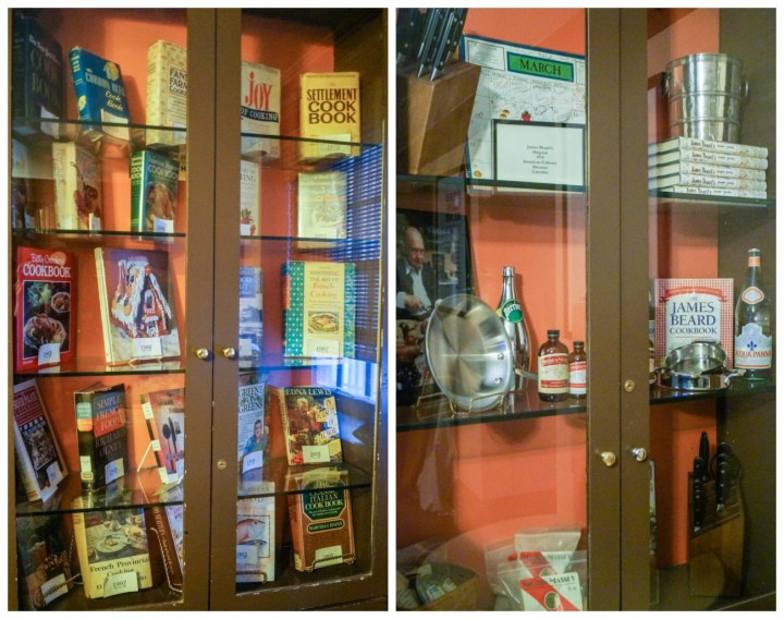 Cookbooks and cooking supplies on display at the James Beard House.
