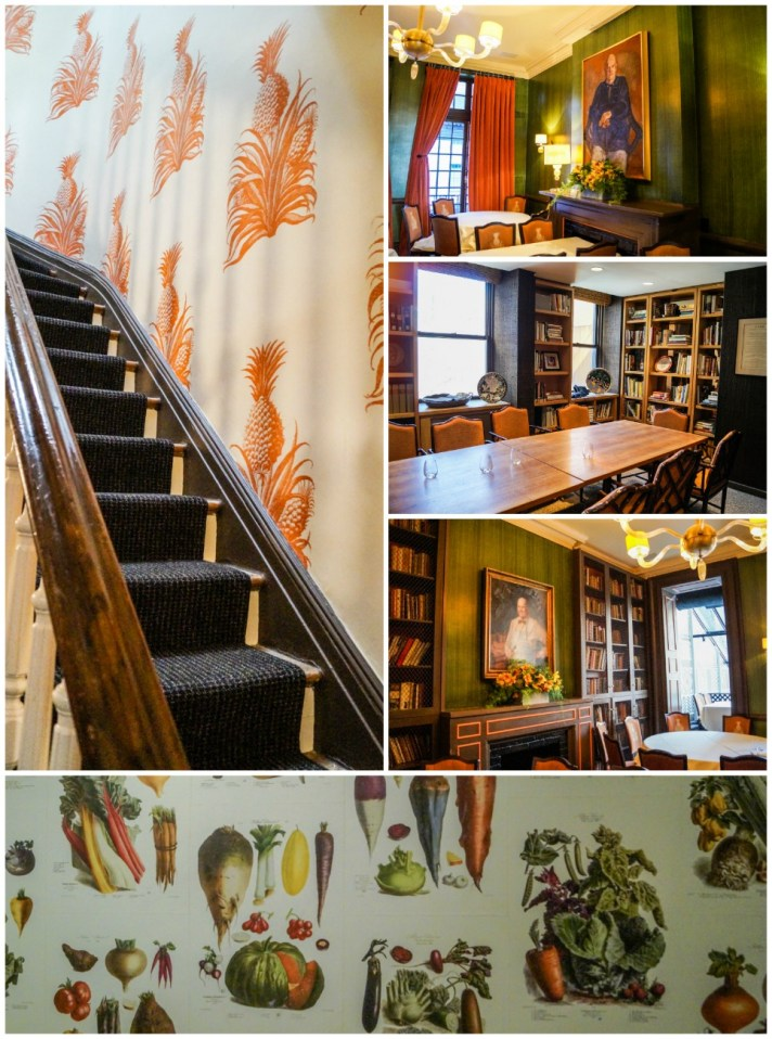 Staircase and tables inside the James Beard House.
