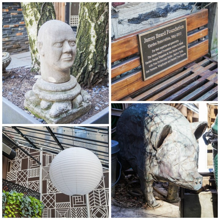 Statues, bench, and white lantern in the James Beard House garden.