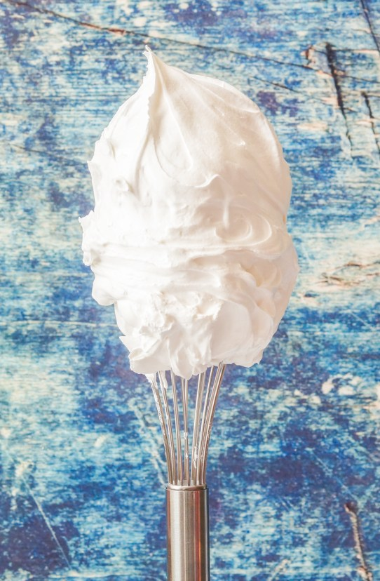 Side view of Marshmallow Whip on a whisk.