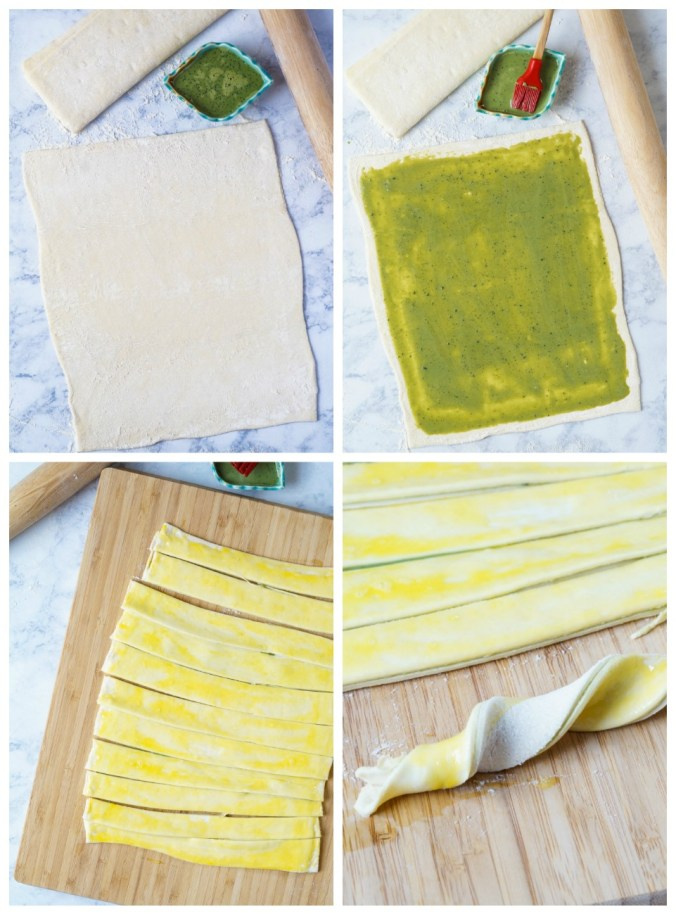 Forming the Matcha Puff Pastry Twists- rolling out the puff pastry, covering with green tea filling, cutting into strips, and twisting.