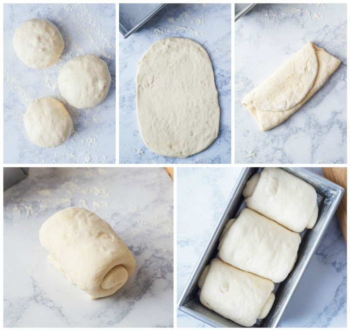 Forming the Shokupan (Japanese Sandwich Bread)- rolling balls of dough into flat sheets, rolling up, and arranging in bread pan.