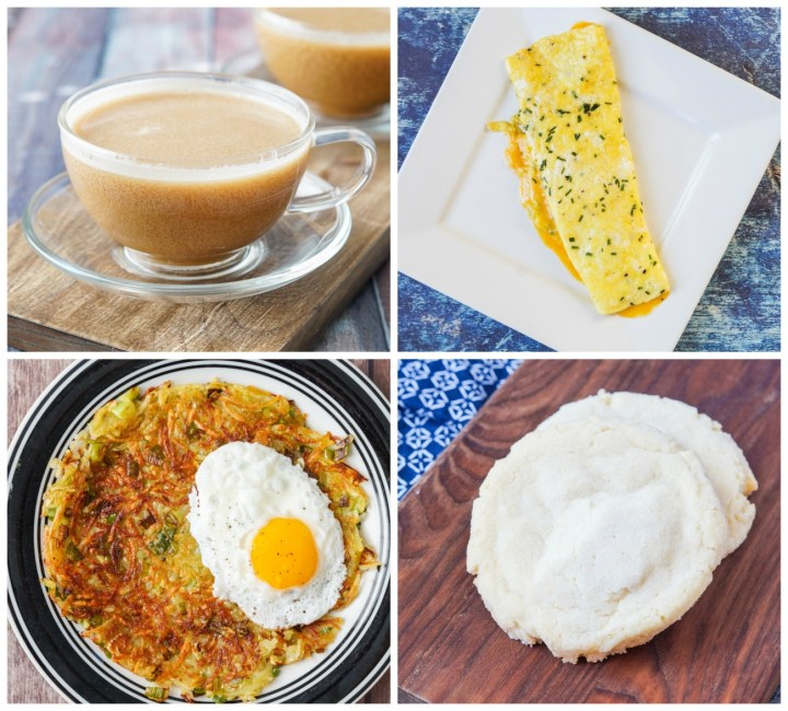 Other dishes from Beach House Brunch: Cafe Au Lait D'almande, Chive and Cheddar Omelet, Scallion Hash Browns, and Giant Sugar Cookies.