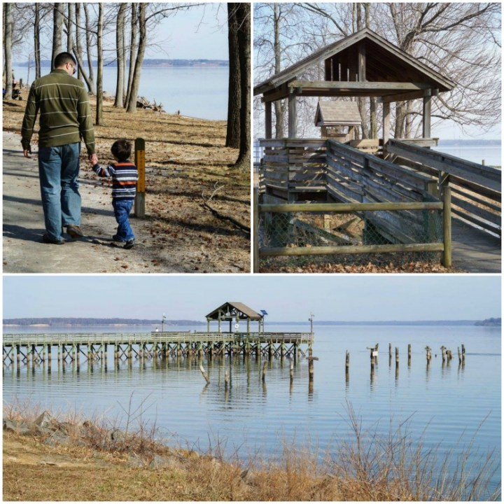 Views of the river and wooden bridge/pier at Leesylvania State Park.
