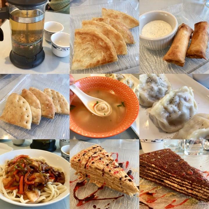 Collage of food- tea, bread, dumplings, noodles, and cake at Eerkin's Uyghur Cuisine.
