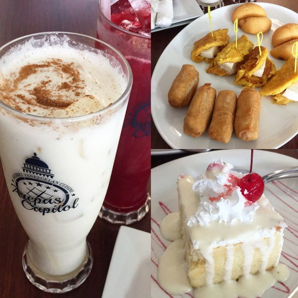 Arepas, tequeños, tres leches cake, and chicha drink from Arepas Capitol.