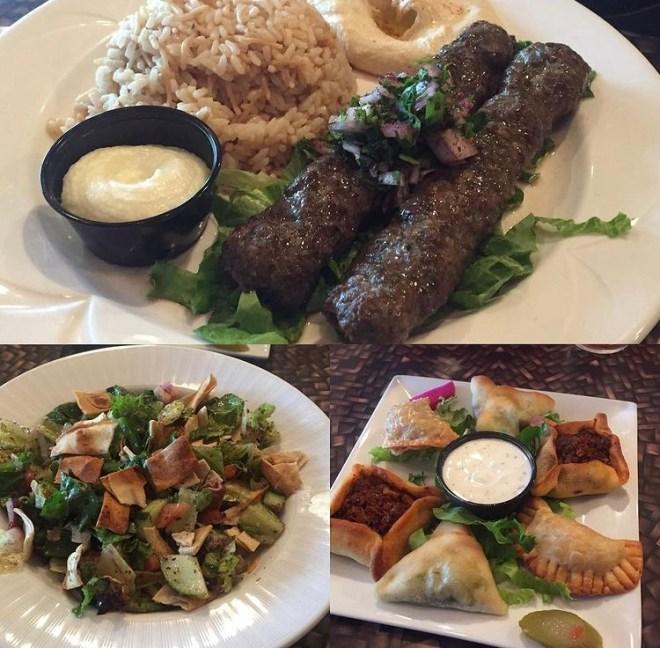 Kafta, Fattoush, and handpies at Layla's Lebanese Restaurant.