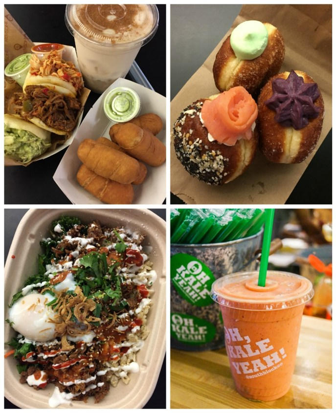 Food from Union Market- arepas, tequeño, malasadas, rice bowl, and smoothie with the lettering: Oh, Kale Yeah! South Block on the cup.