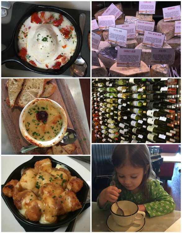 Collage of food, cheese, and wine at Cheesetique.