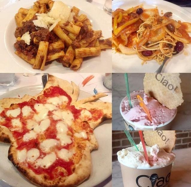 Pizza, pasta, and gelato at Ciao Osteria.