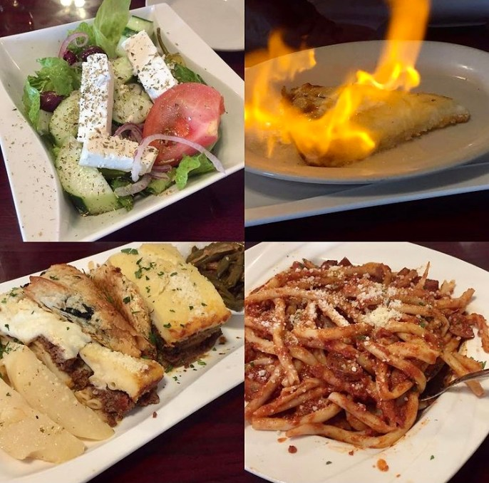 Collage of food from Eleni's Greek Taverna- salad, cheese on fire, fish, and pasta.