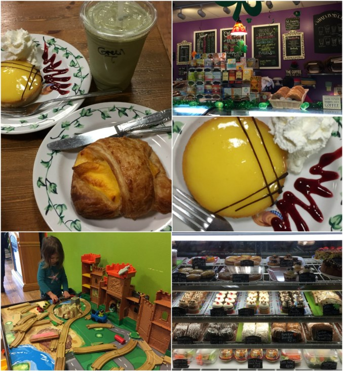 Collage of food- pastries, display case, and train set at Grounded Coffee Shop.