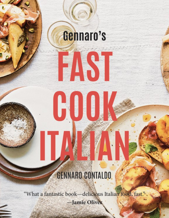 """Cookbook cover- Gennaro's Fast Cook Italian by Gennaro Contaldo. Quote- """"What a fantastic book--delicious Italian food, fast"""" by Jamie Oliver."""