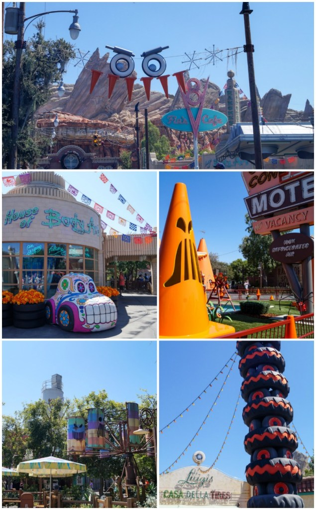 Halloween decorations at Cars Land- orange cones with jack-o-lantern faces, sugar skull car, and stacks of tires