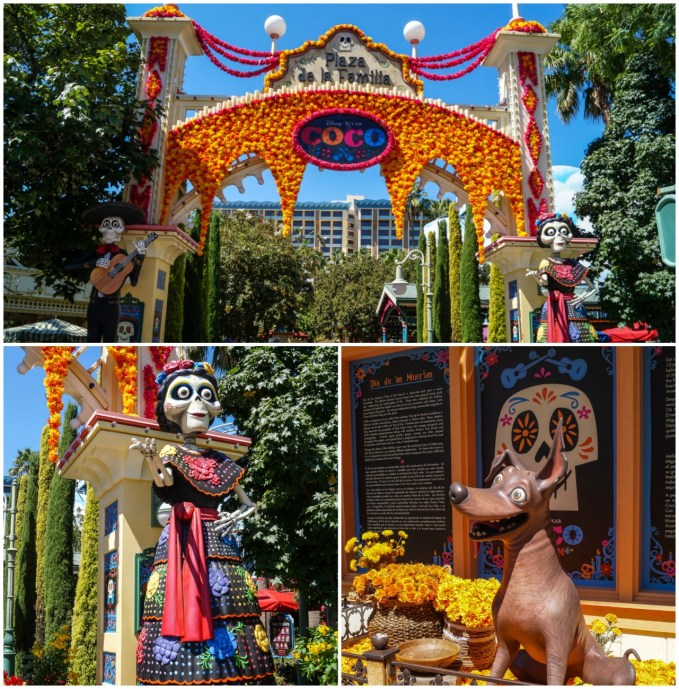 Plaza decorated for Coco movie- Sign stating Plaza de la Familia with Coco and orange flowers and a dog.