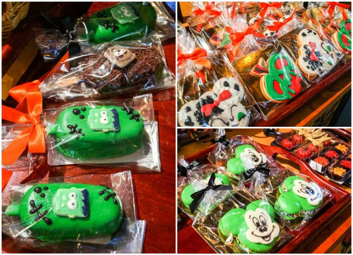 Halloween treats- poison apple cookies, Green Mickey Mouse Whoopie Pies, and Frankenstein green pops