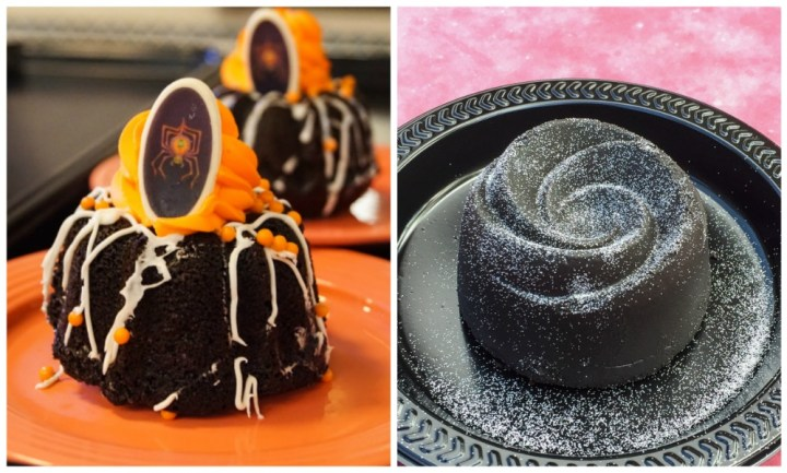 Halloween Treats at Disneyland- Mini Bundt Cake with orange frosting and spider, dark chocolate rose