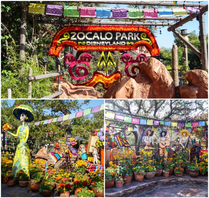 Sign stating- Zocalo Park Disneyland. Sugar skulls and Day of the Dead decorations. Skeleton musicians with guitar.