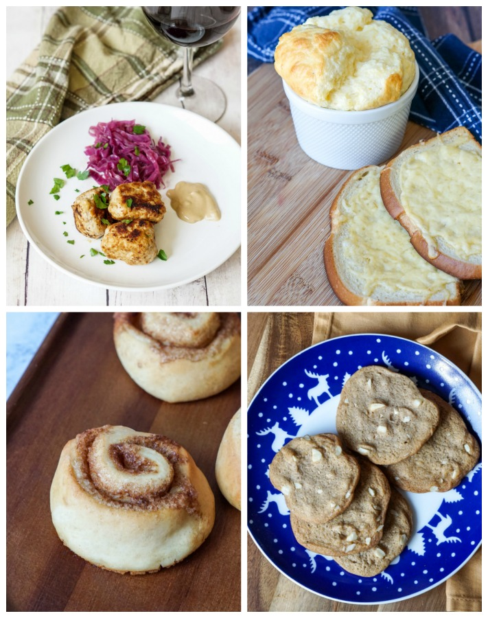 Other dishes from Cook Yourself Happy- Fines Frikadeller (Fine's Meatballs with Spiced Red Cabbage), Oste Soufflé (Cheese Souffle with Cheesy Bread), Kanelsnegle (Cinnamon Buns), and Brunkager (Cinnamon Christmas Cookies).
