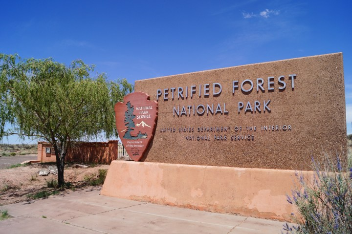 Sign for Petrified Forest National Park- United States Department of the Interior National Park Service