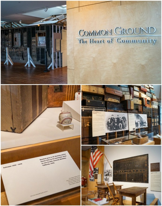 Common Ground: The Heart of Community exhibit. Baseball, stacked suitcases, and replica of a classroom with desks and chairs, American flag.