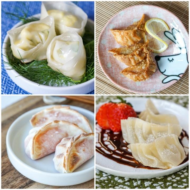"Other dumplings from Gyoza cookbook: Bell Pepper Dumplings with Egg, The ""Colonel's"" Crispy Chicken Dumplings, Sweet Potato Dumplings, and Light-as-a-Feather Puff Dumpling."