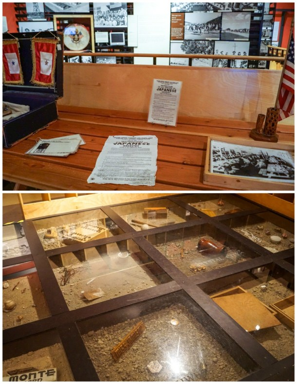 Photographs, documents, and artifacts from Japanese internment camps.