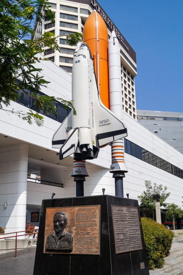 Onizuka plaque with Space Shuttle Challenger replica.
