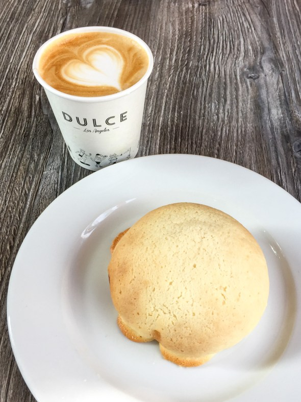 Pastry and latte with a heart at Cafe Dulce