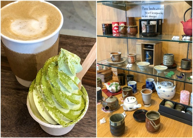 Brown latte and green soft serve ice cream at Tea Masters and a collection of tea cups.