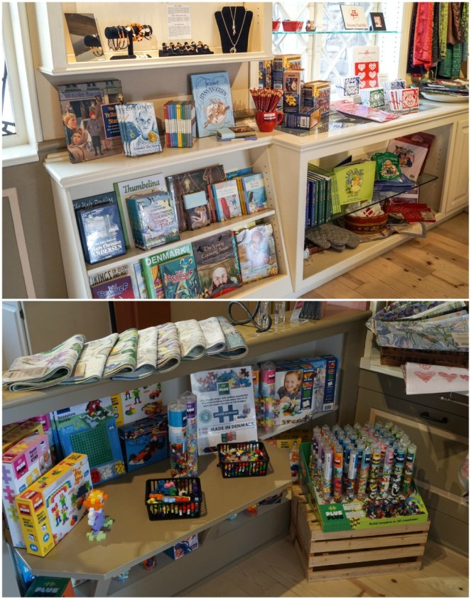 Gift shop at Elverhøj Museum- books, coloring books, jewelry, and toys.