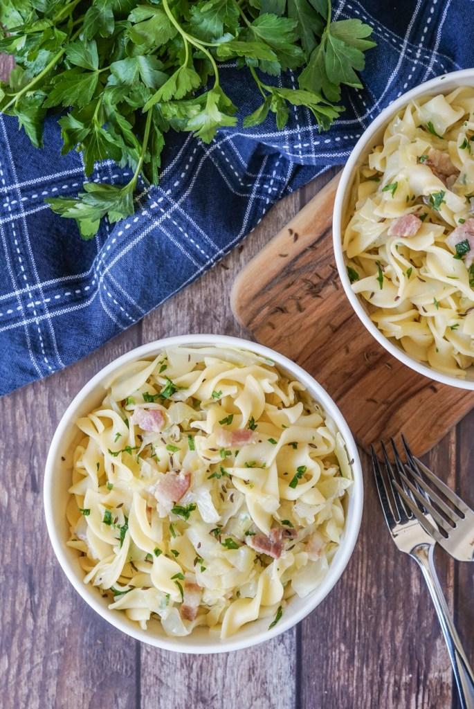 Krautflecken mit Speck (Cabbage, Noodles and Bacon) aerial