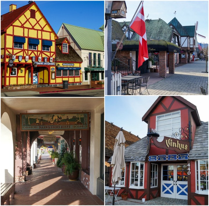 Buildings in Solvang with Danish red and white flag- yellow and red building, red and brown building.
