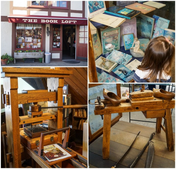 The Book Loft- entrance, Little Mermaid book collection, and replica of old printing press.