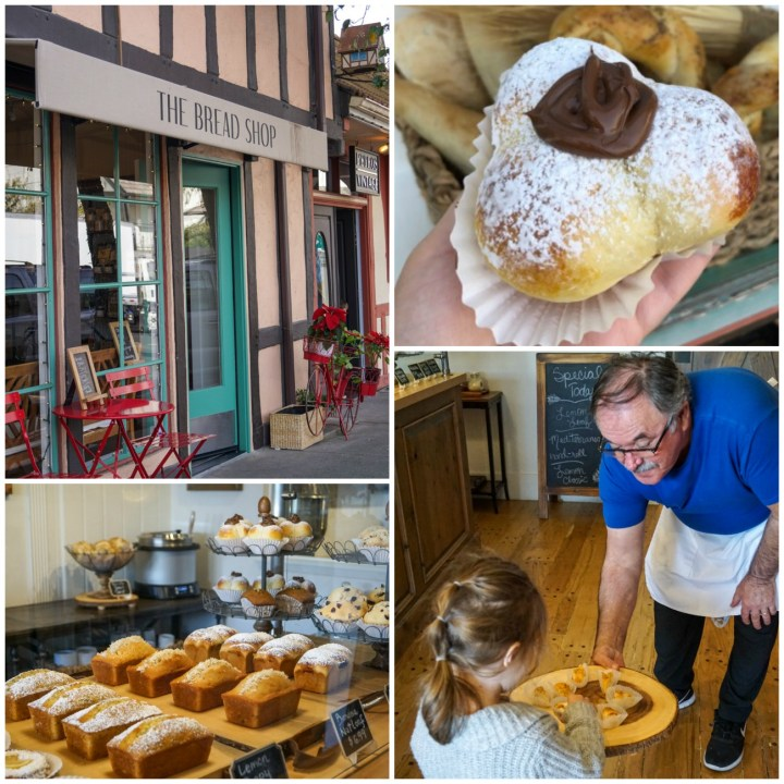 The Bread Shop- Nutella bread, loaves lined in display window, and trying a sample of pastry.