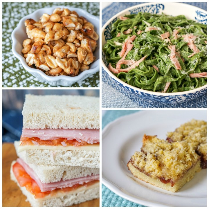 Other dishes from The Food of Argentina Collage- peanuts, pasta, sandwiches, and dessert bars.