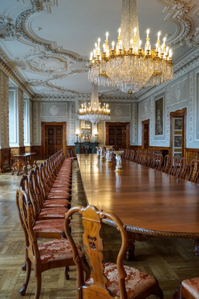 Christiansborg Slot (Christiansborg Palace) dining hall with chandeliers and long table