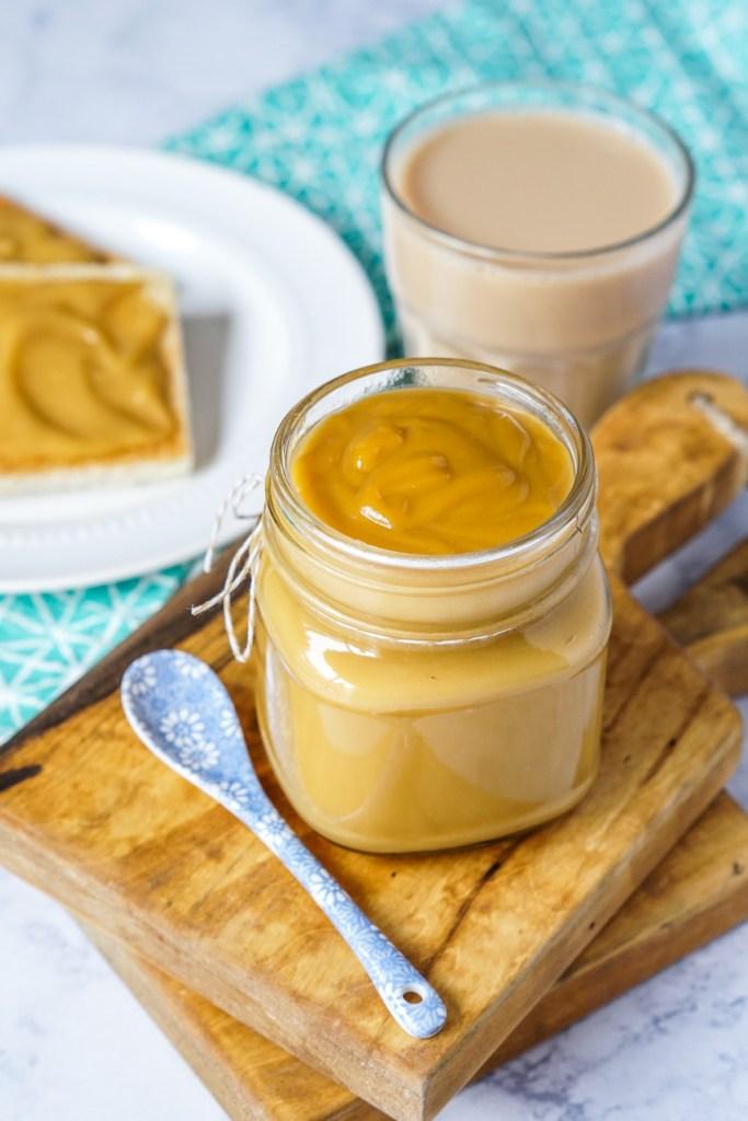 Kaya Jam in a jar with tea and toast
